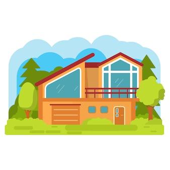 モダンな郊外の家。家族の家。タウンハウスの建物のアパート。ガレージ付きの家の正面。田舎の住宅村。