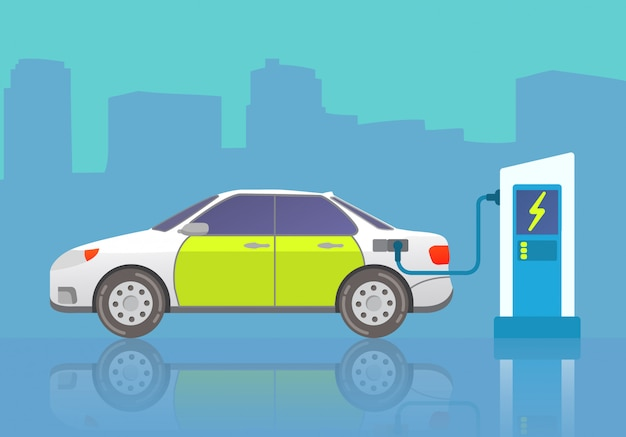 電気自動車セダン。車両の充電。