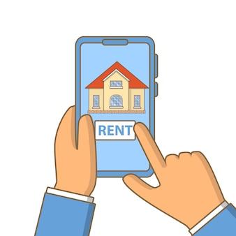 モバイルアプリケーションでボタンのタッチスクリーンを押すスマートフォンの指で家賃。