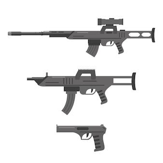 Набор из снайперской винтовки, штурмовой винтовки и пистолета. огнестрельное оружие, пулемет, оружие.