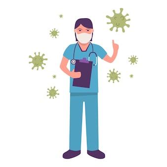 Женщина-врач носить медицинскую маску. предотвратить эпидемический коронавирус