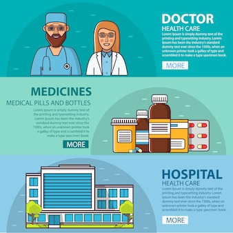 Женский и мужской медицинский персонал. доктор и медсестра. медицинские препараты таблетки и флаконы. блистеры таблетки. капсулы. здание больницы, здравоохранение и аптека