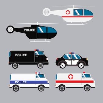 Автомобиль и вертолет полиции и скорой помощи.