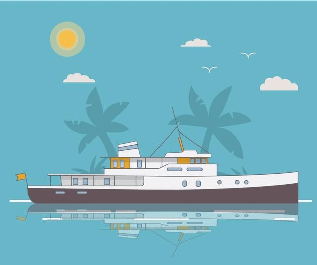 Летний пейзаж корабль яхты на фоне пальм.