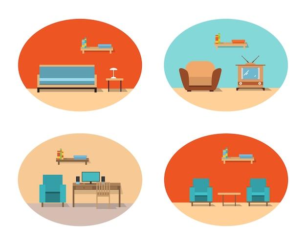 Интерьер домашней гостиной с диваном и креслами, телевизором и кабинетом с письменным столом и компьютером.