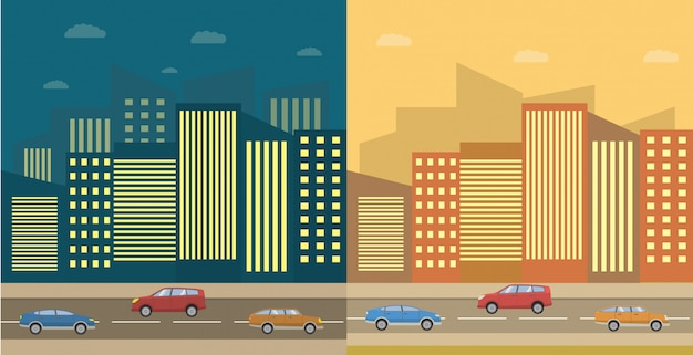 昼と夜の街並みと家と車のある道路。