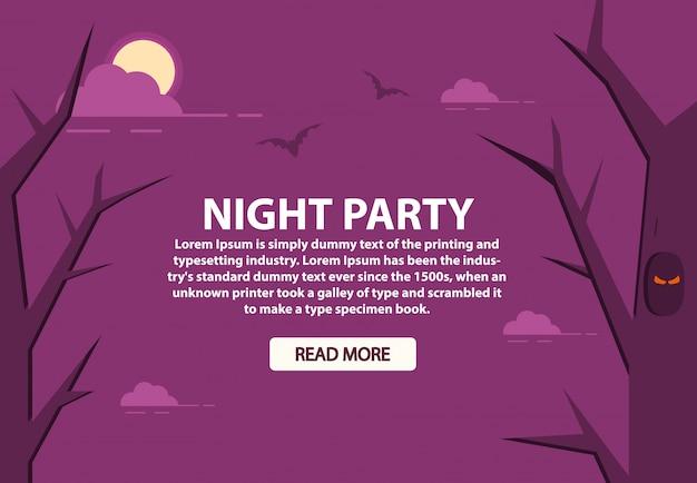 Хэллоуин вечеринка ночь лесная луна в облаках и летучих мышах.