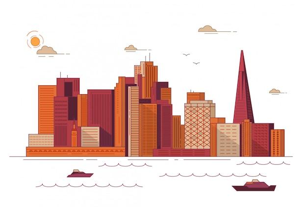 Городской городской пейзаж сан-франциско в центре города со зданиями небоскребов