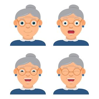Забавная бабушка в очках носит характер с разными эмоциями и взглядом.