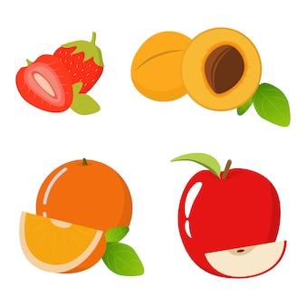 Клубника, абрикос, красное яблоко, апельсин натуральная фруктовая еда.