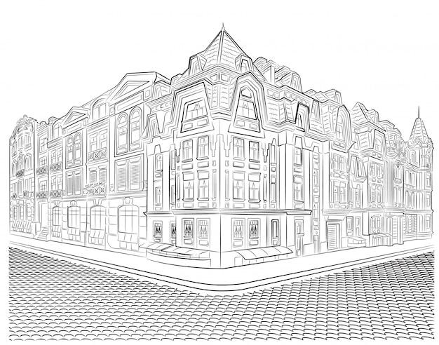 ストリートコーナーのベクトル描画に詳細な古い建物