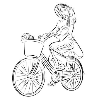 Красивая женщина, езда на велосипеде. транспортная иллюстрация.