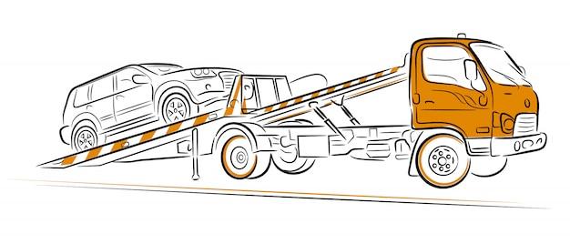 車のけん引トラックの避難。手描きイラスト。