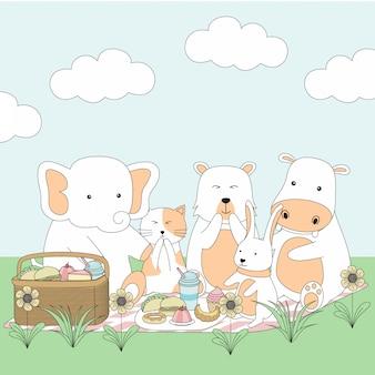 手描きのピクニックかわいい動物漫画