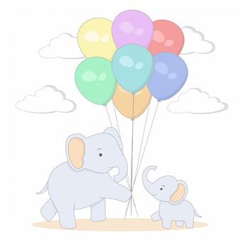 Слон мать и дитя с разноцветными шарами