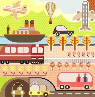 Вектор летний пейзаж с транспортом