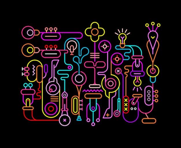 Абстрактное искусство неоновые цвета иллюстрации