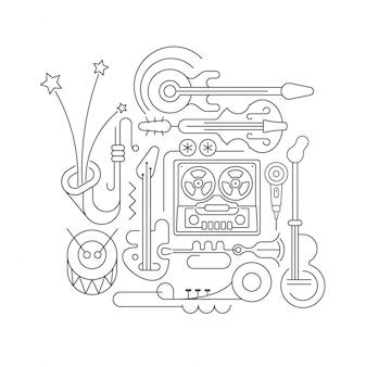 古いテープレコーダーと楽器