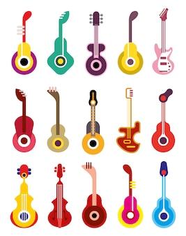 Гитара - векторный набор иконок