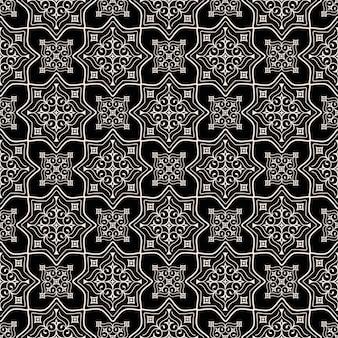 黒の背景に伝統的な東部のシームレスパターン