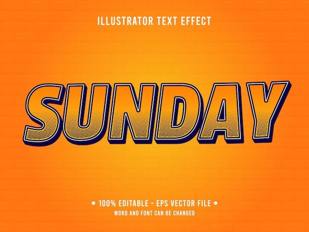 編集可能なテキスト効果テンプレートオレンジ色の日曜日のポップスタイル