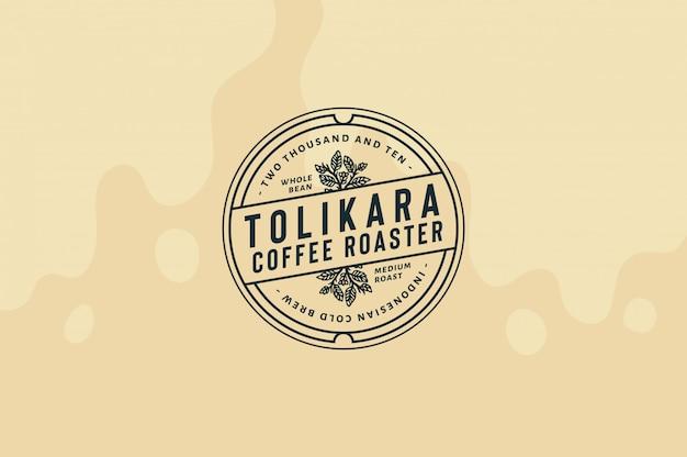 トリカラコーヒーロースターロゴテンプレート完全に編集可能なテキスト、色、輪郭