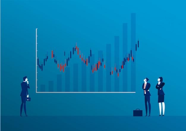 実業家背面図立っているキャンドルスティックグラフ株式市場の図