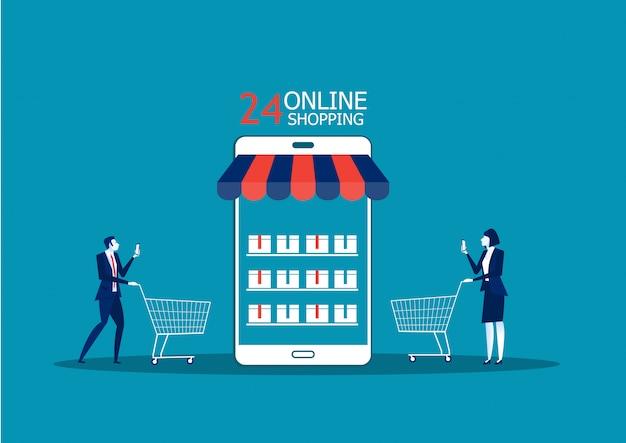 Деловые люди, мужчина и женщина, интернет-магазин с помощью смартфона