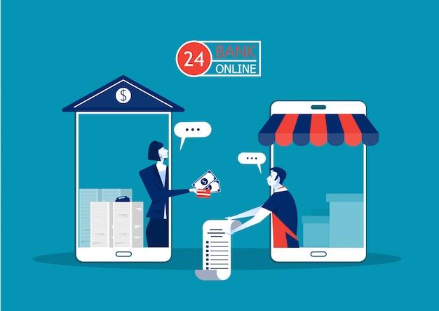 銀行の建物のスマートフォンを介したビジネスオファーローンは投資のために事業主にオンラインで支払います