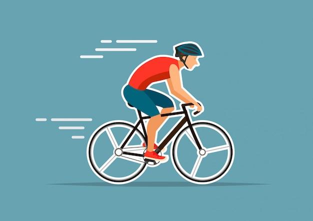 男は青い背景ベクトルイラストレーターに自転車に乗る