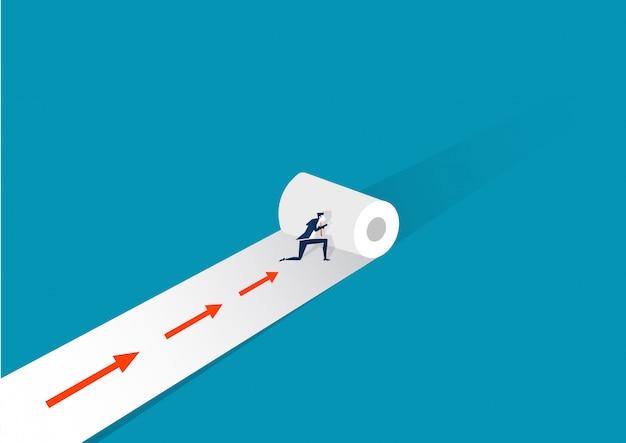 青い矢印イラストレーターで紙を押すビジネスマンロールします。