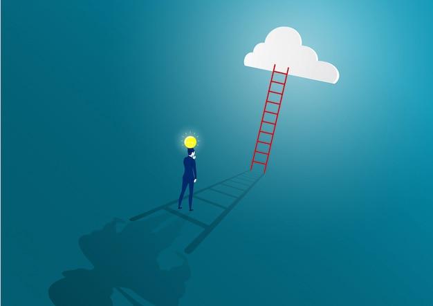 Бизнесмен думает идея с лампочкой путь к успеху