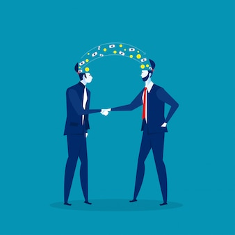 Два бизнесмена рукопожатие с инвестиционной прибыли бизнес идеи концепции. иллюстрация