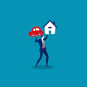 Бизнесмен держит кредит дом и машину.
