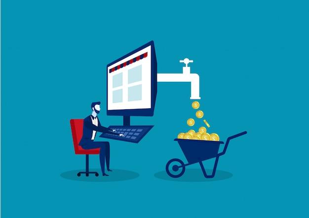Бизнес-концепция для получения прибыли с помощью интернета, как фриланс, маркетинг бизнесмен или электронная коммерция сидя прямо на стуле работая на компьютере