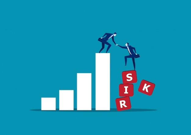 リスクグラフに彼のパートナーを助けるビジネスマン