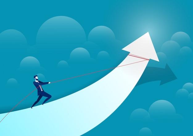 Иллюстрация бизнесмена, потянув стрелку на гистограмму для достижения цели.