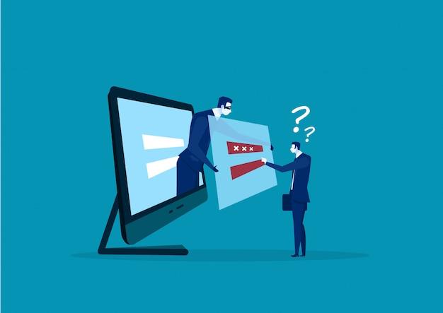 Бизнесмен вор хакер в маске крадет пароли и логин компьютер интернет безопасность