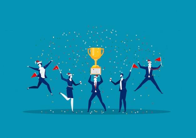 Выиграть достижение счастливый сотрудник компании вручает трофейный приз своему лидеру бизнес иллюстрация