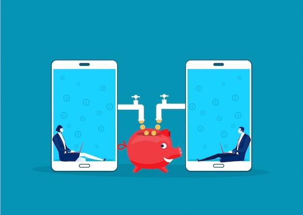 Два деловых сидения в ноутбуке с мобильными монетами, работающими пассивно
