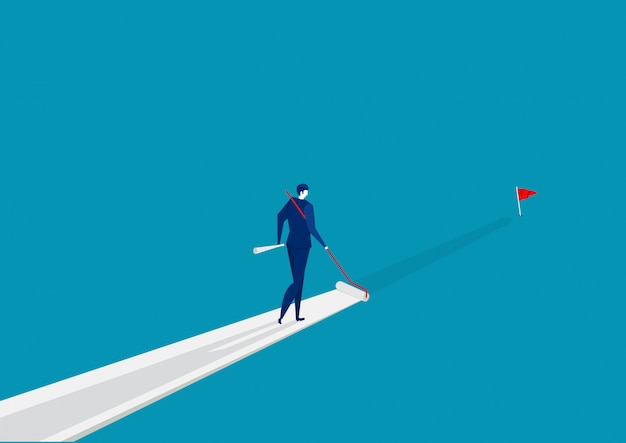ビジネスマンは彼自身の成功への道を青に塗ります。