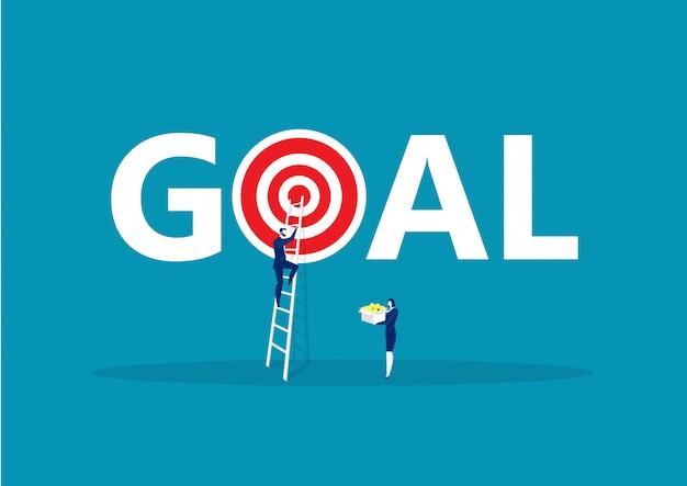 目標達成、成功への動機付けに階段を登るビジネスマン。ベクトル図