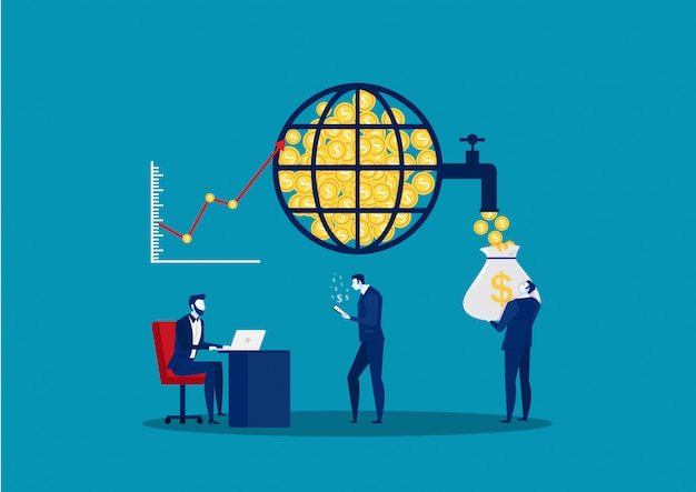 Мировой финансовый рынок. фондовая биржа. финансовый менеджмент и анализ финансовых данных. деловая команда. векторная иллюстрация