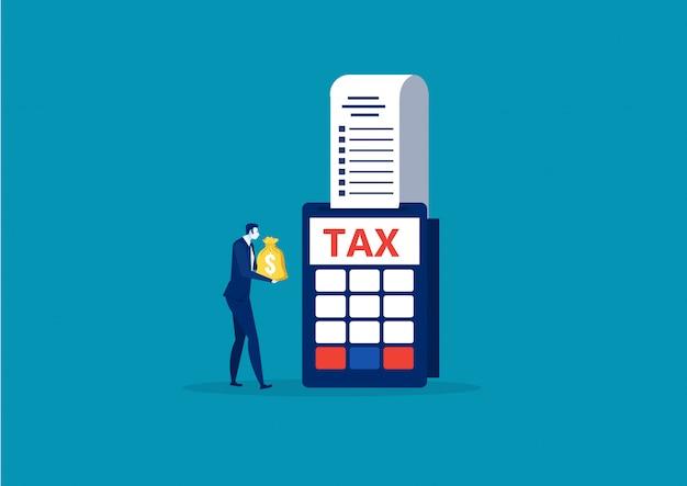 Деловой человек держит деньги на оплату налогов в конце года понятие вектора