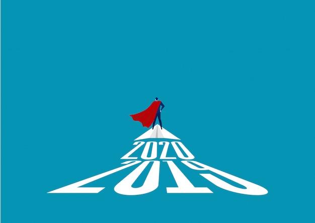 ロケット紙の上に立ってスーパーヒーローの実業家。ビジネスの成功、リーダーシップ、勝利の概念。