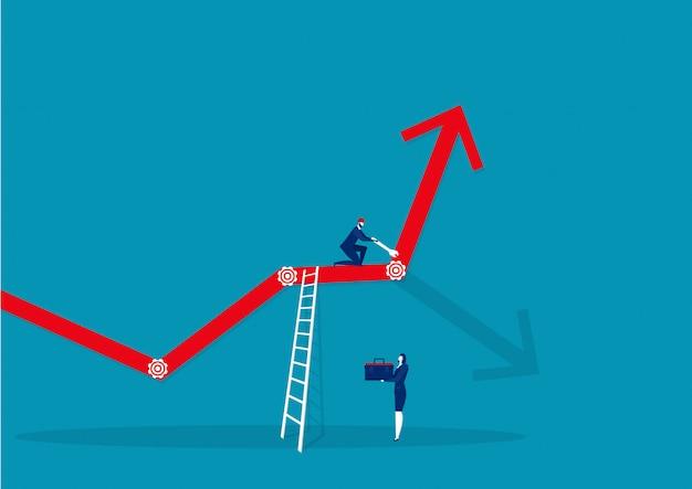 Люди бизнеса и ремонта снаряжения вперед стрелка роста бизнес-концепции