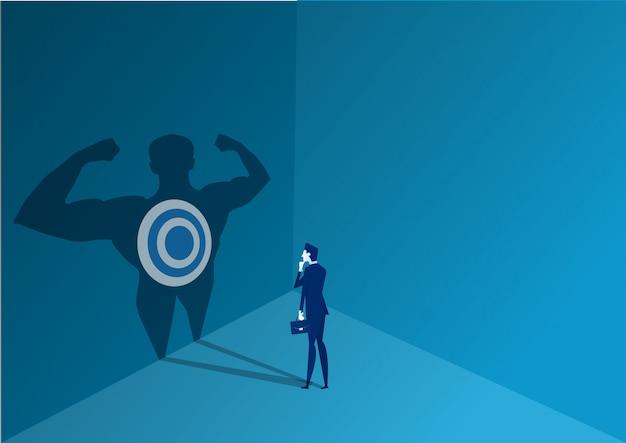 Бизнесмен, стоящий, чтобы решить с сильной властью к цели концепции иллюстратор вектор