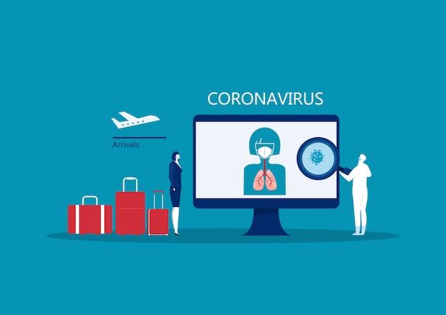 コロナウイルスから保護するために呼吸マスクを着ている実業家