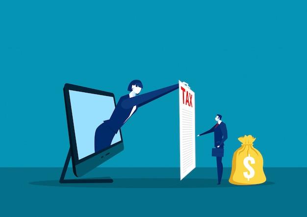 実業家は、給与税の概念のためのラップトップコンピューターに紙税を表示します。