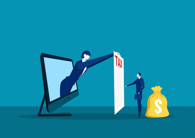 Налог бумаги выставки коммерсантки на портативном компьютере для концепции налога на оплату труда